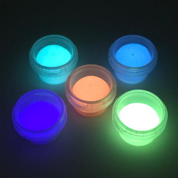 Nachleuchtende Pigmente 5er Set mit Lampe - Sehr hell im Dunkeln nachleuchtende Pigmente