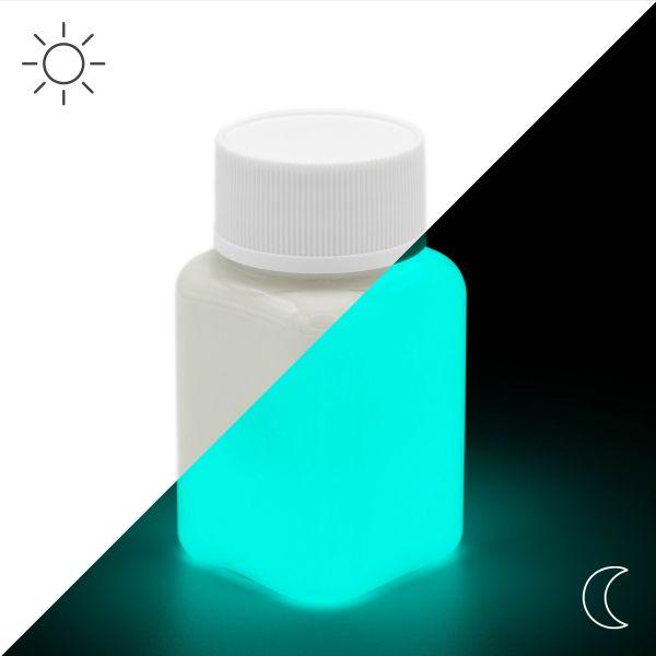 Premium Leuchtfarbe Grün-Blau 100 g - Im Dunkeln leuchtende Farbe