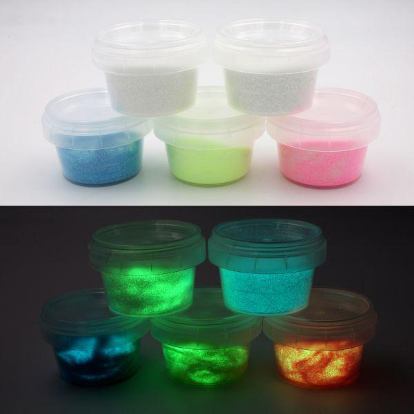 Set Leucht-Glitzer mit UV-Lampe - 5x im Dunkeln leuchtendes Farbpulver