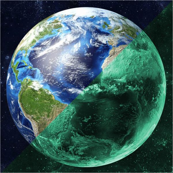 Nachleuchtender Aufkleber Erde (30cm)
