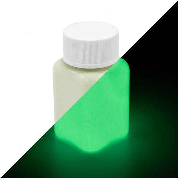 Glitzer Leuchtfarbe Grün-Gelb 100 g - Nachleuchtfarbe mit Glitter