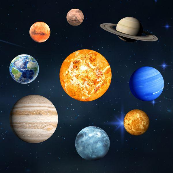 Nachleuchtende Sonnensystem Aufkleber (9 Planetensticker)
